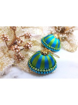 SILK THREAD JHUMKA BLUE-GREEN EARRINGS