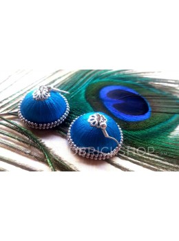 SILK THREAD JHUMKA TURQUOISE EARRINGS