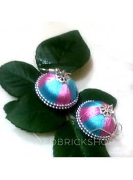 SILK THREAD JHUMKA PINK-BLUE EARRINGS