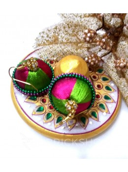 SILK THREAD JHUMKA PINK-GREEN EARRINGS
