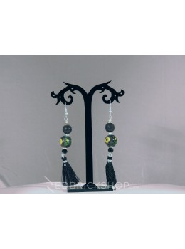 BLUE POTTERY TWO BEAD BLACK TASSEL YELLOW GREEN EARRINGS