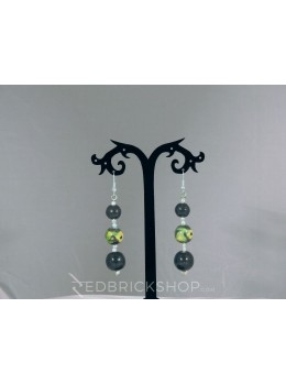 BLUE POTTERY THREE BEAD GREEN EARRINGS