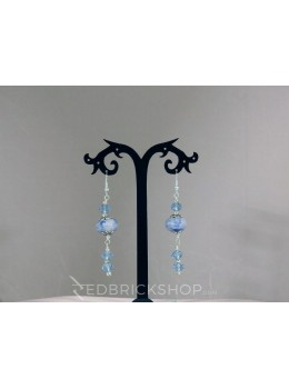 BLUE POTTERY SINGLE BEAD CRYSTAL BLUE EARRINGS