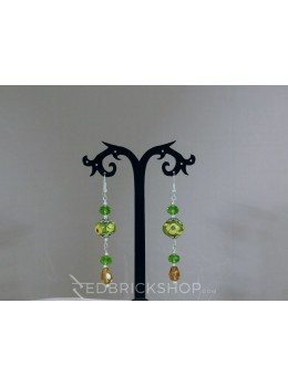 BLUE POTTERY SINGLE BEAD CRYSTAL GREEN GOLDEN EARRINGS