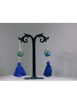 BLUE POTTERY SINGLE BEAD INDIGO TASSEL BLUE GREEN EARRINGS