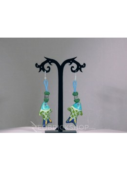 BLUE POTTERY FISH GREEN TURQUOISE INDIGO EARRINGS
