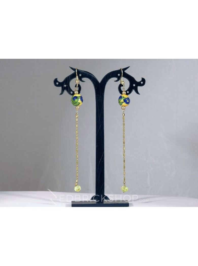 BLUE POTTERY SINGLE BEAD LONG CHAIN YELLOW GREEN BLUE EARRINGS