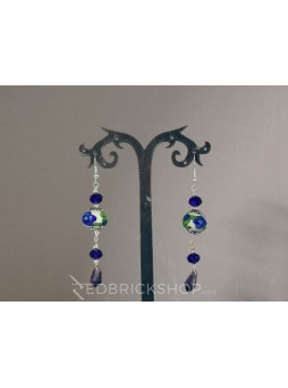 BLUE POTTERY SINGLE BEAD CRYSTAL INDIGO EARRINGS