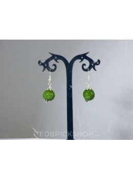 BLUE POTTERY SINGLE BEAD GREEN EARRINGS
