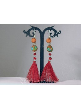 BLUE POTTERY TWO BEAD RED TASSEL EARRINGS