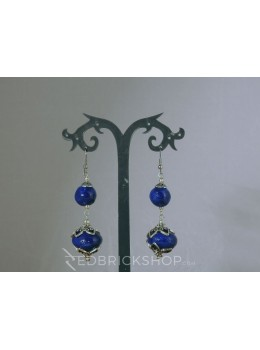 BLUE POTTERY TWO BEAD INDIGO EARRINGS