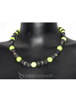 BLUE POTTERY FULL BEADS GREEN BLACK NECKLACE