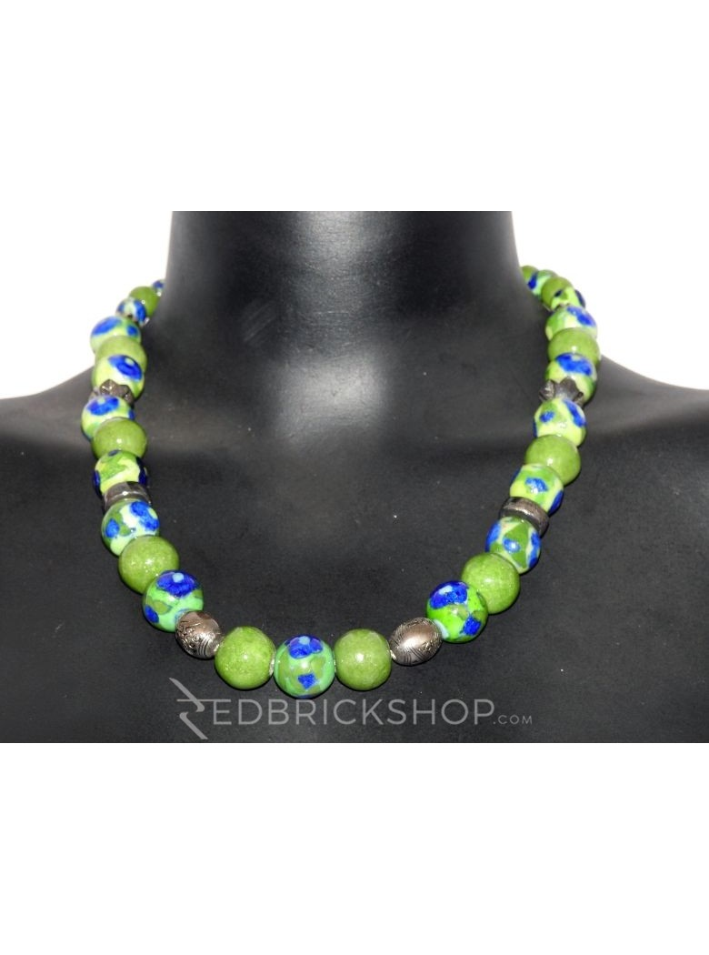 BLUE POTTERY FULL BEADS GREEN NECKLACE