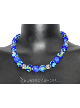 BLUE POTTERY FULL BEADS INDIGO NECKLACE