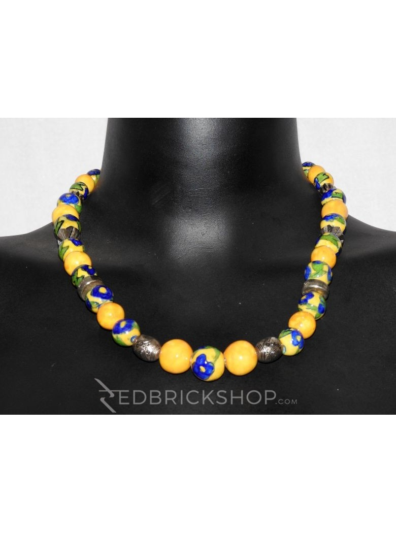 BLUE POTTERY FULL BEADS YELLOW NECKLACE
