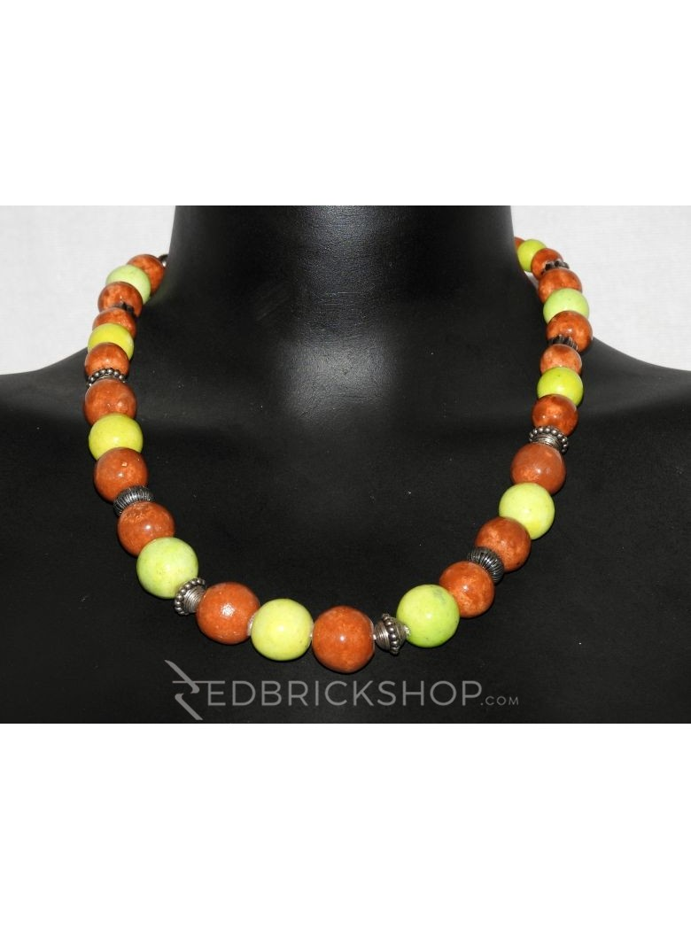 BLUE POTTERY FULL BEADS RUST GREEN NECKLACE