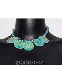 BLUE POTTERY FIVE CIRCLE TURQUOISE NECKLACE