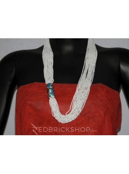 BLUE POTTERY POTHA WHITE NECKLACE