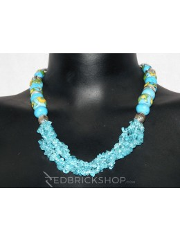 BLUE POTTERY SEMI TURQUOISE NECKLACE