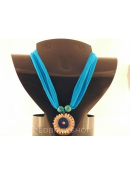 VEGETABLE SEED FLOWER TURQUOISE NECKLACE