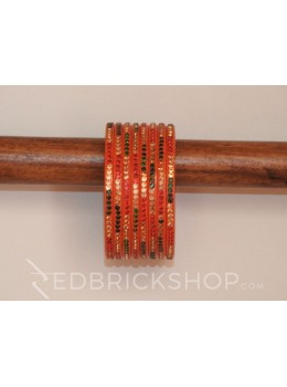 LAC MULTI STONE SADA ORANGE BANGLES (8 IN SET)