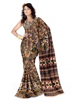 KALAMKARI FLORAL BROWN-MUSTARD-GREEN COTTON SAREE