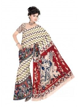 KALAMKARI ZIGZAG GODDESS CREAM, BLACK, GREEN, RED COTTON SAREE