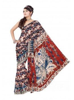 KALAMKARI FLOWER GODDESS CREAM, MAROON, BLUE COTTON SAREE