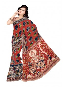 KALAMKARI FACES RED, BLUE, GREEN COTTON SAREE