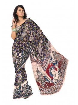 KALAMKARI VINE PEACOCK BROWN, PURPLE, GREEN COTTON SAREE