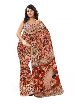 KALAMKARI FLORAL VINE RED, BLUE, CREAM COTTON SAREE