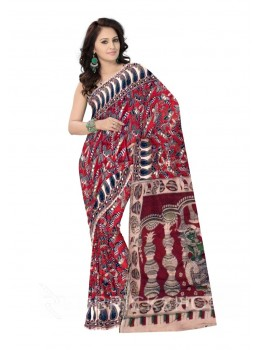 KALAMKARI BUTTERFLY PAISLEY MAROON, BLUE, GREEN COTTON SAREE