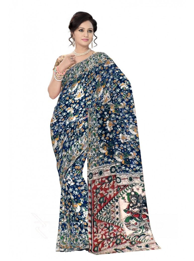 KALAMKARI VINE PEOPLE BLUE, GREEN, YELLOW COTTON SAREE
