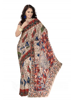 KALAMKARI BIG DIAMOND BIRD CREAM, RED, BLUE COTTON SAREE