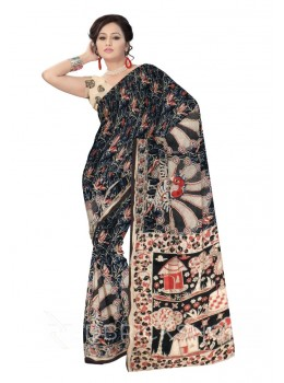 KALAMKARI VINE BIG PEACOCK BLACK, RED, CREAM COTTON SAREE