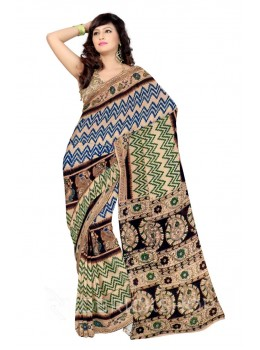 KALAMKARI ZIGZAG BIRD CREAM, GREEN, BLUE COTTON SAREE