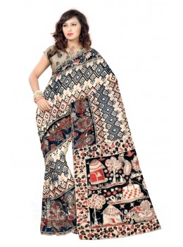 KALAMKARI DIAMOND GEOMETRIC FLOWER CREAM, RED, BLACK COTTON SAREE