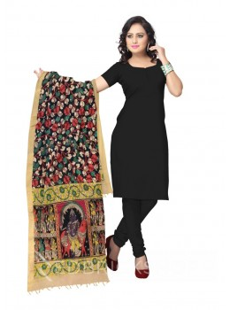 KALAMKARI (PEN) LOTUS VINE BLACK, RED COTTON DUPATTA