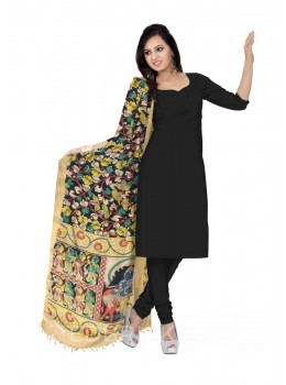 KALAMKARI (PEN) LOTUS VINE BLACK, YELLOW COTTON DUPATTA