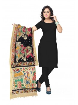 KALAMKARI (PEN) GODDESS BLACK, PINK, GREEN COTTON DUPATTA