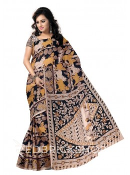 KALAMKARI COW BLACK, MUSTARD YELLOW, CREAM COTTON SAREE