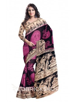 KALAMKARI BIG CIRCLE PLANT BLACK, MAUVE PURPLE, CREAM COTTON SAREE