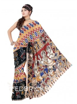 KALAMKARI DIAMOND RED, BLUE, GREEN, YELLOW, BLACK, CREAM COTTON SAREE