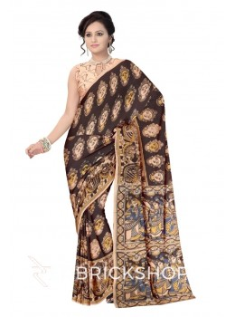 KALAMKARI FACES BROWN, MUSTARD YELLOW, CREAM COTTON SAREE