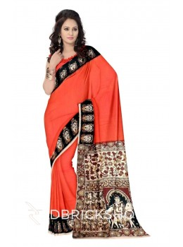 KALAMKARI PLAIN FACES BORDER ORANGE, BLACK, MAROON, MUSTARD YELLOW, CREAM COTTON SAREE