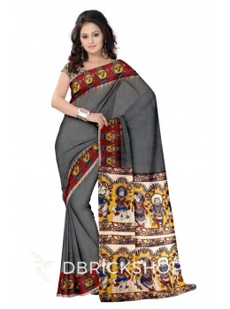 KALAMKARI PLAIN FACES BORDER GREY, MUSTARD YELLOW, RED, BLUE, CREAM COTTON SAREE