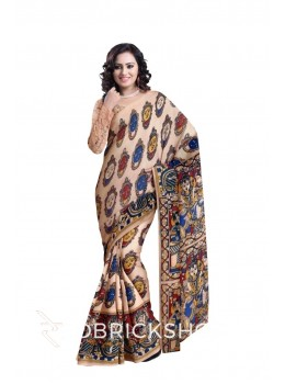 KALAMKARI FACES CREAM, RED, BLUE, YELLOW COTTON SAREE