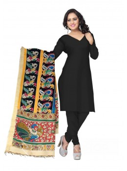 KALAMKARI (PEN) DUCK ROWS BLACK, YELLOW, GREEN COTTON DUPATTA