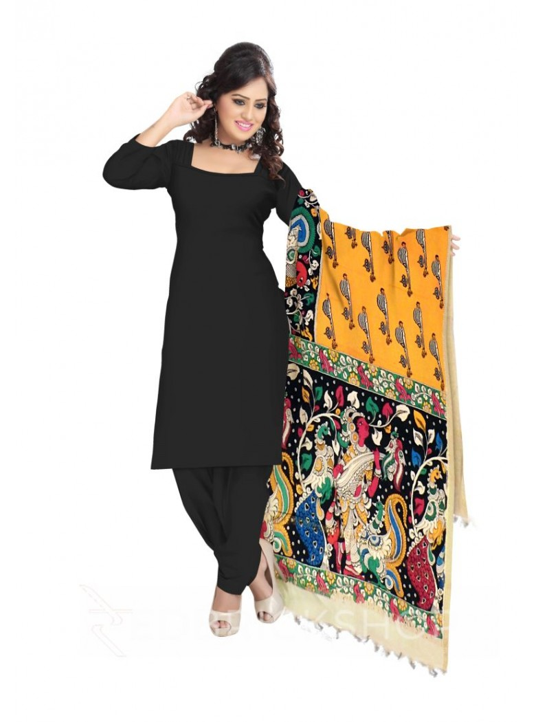 KALAMKARI (PEN) VEENA YELLOW, BLACK, GREEN COTTON DUPATTA