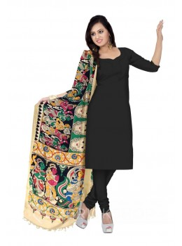 KALAMKARI (PEN) FACES PEOPLE GREEN, YELLOW, BLACK COTTON DUPATTA